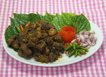 Thai southern food, Beef fried with chili curry. Royalty Free Stock Photos