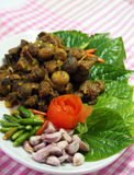 Thai southern food, Beef fried with chili curry. Royalty Free Stock Image
