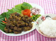 Thai southern food, Beef fried with chili curry.with rice Royalty Free Stock Image
