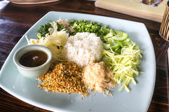 Thai-Southern Herbal Rice. Thai Southern Herbal Rice on 'Siladol' Blue Plate Stock Photography