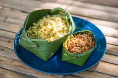 Thai Southern spicy rice salad with fried crispy anchovy. Local food Royalty Free Stock Image