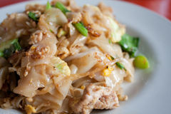 Thai soy sauce. Thai fried noodles in a soy sauce with the pork mixture into the vegetables Stock Photography
