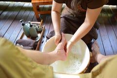 Thai spa foot massage stock image