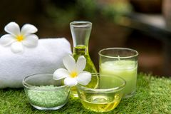 Thai Spa massage compress balls, herbal ball and treatment spa,. Relax and healthy care with flower, Thailand. Healthy Concept Royalty Free Stock Images