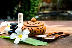 Thai Spa massage compress balls, herbal ball and treatment  spa with flower,. Thailand.  Healthy Concept. select focus Stock Photography