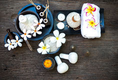 Thai Spa massage compress balls, herbal ball and treatment  spa, relax and healthy care with flower, Thailand. Healthy Concept. select focus Stock Images