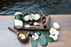 Thai Spa massage compress balls, herbal ball and treatment  spa, relax and healthy care with flower, Thailand. Healthy Concept. select focus Royalty Free Stock Photography