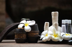 Thai Spa massage compress balls, herbal ball and treatment  spa, relax and healthy care with flower, Thailand. Healthy Concept. select focus Stock Photography