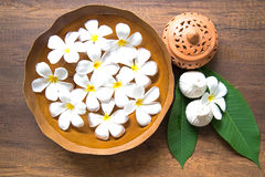Thai Spa massage compress balls, herbal ball and treatment  spa, relax and healthy care with flower, Thailand. Healthy Concept. select focus Stock Photos