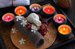 Thai spa and massage. Luk Pra Kob Thai pattern for Spa and massage Royalty Free Stock Images
