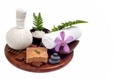 Thai spa and massage set in white background Royalty Free Stock Image
