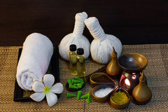 Thai spa massage setting on candlelight royalty free stock images