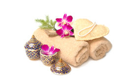 Thai spa massage setting Stock Photo