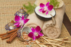 Thai spa massage setting with spa  essential oil Stock Photos
