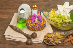 Thai spa massage setting with thai herbal compress balls Royalty Free Stock Image