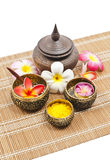 Thai spa set on bamboo mat Stock Photo