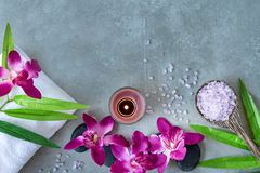 Thai Spa. Top view of hot stones setting for massage treatment and relax with purple orchid on blackboard with copy space. Green leaf with black stones pile stock photos
