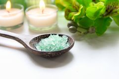 Thai Spa treatments aroma therapy  salt and nature green sugar scrub and rock massage with green orchid flower on wooden white wit Royalty Free Stock Images