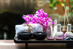 Thai Spa Treatments aroma therapy  salt and sugar scup and rock massage with orchid flower.  Healthy Concept. copy space, Royalty Free Stock Photo