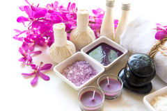 Thai Spa Treatments aroma therapy salt and sugar scup and rock massage with orchid flower on wooden white.  Healthy Concept. copy Stock Image