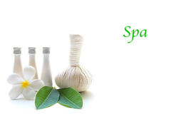 Thai Spa Treatments and massage flower on wooden and white background, banner, copy space. Royalty Free Stock Photo