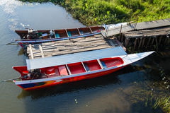 Thai speed boat on the water in the River Kwai at Kanchanaburi,T Stock Photography