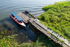 Thai speed boat on the water in the River Kwai at Kanchanaburi,T Stock Photos