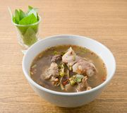 Thai Spicy Beef Entrails Soup with Sweet Basil Stock Image