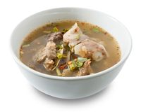 Thai Spicy Beef Entrails Soup on White Background Stock Photo