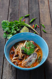 Thai Spicy Canned Sardines Salad. With Yanagi Mutsutake Royalty Free Stock Photo