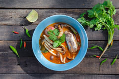 Thai Spicy Canned Sardines Salad. With Yanagi Mutsutake top view Royalty Free Stock Photography
