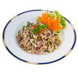 Thai Spicy Chicken Salad (Larb Gai) isolated on white Stock Photos