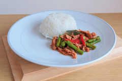 Thai Spicy Chili Paste Stir-fried With Pork And Rice Stock Photo