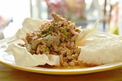 Thai spicy chop pork salad eat with sticky rice and fresh vegetable Stock Image