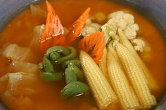 Thai spicy food. A Thai spicy food soup with vegetable Stock Photo