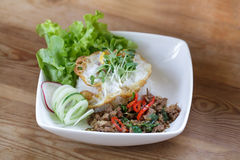 Thai spicy food basil pork fried rice recipe with egg Royalty Free Stock Images