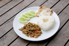 Thai spicy food,Basil Pork Fried Rice Royalty Free Stock Photography