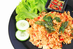 Thai spicy food basil shrimp fried rice recipe Stock Images