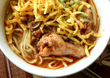 Thai spicy food, Egg noodle in chicken curry. Royalty Free Stock Photos