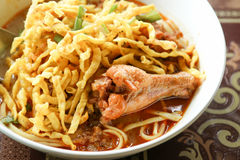 Thai spicy food, Egg noodle in chicken curry. Stock Photography