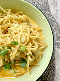 Thai spicy food, Egg noodle in chicken curry or name in thai is khao soi kai. local cuisine North of Thailand. Stock Image