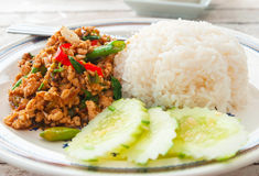 Thai spicy food (Krapao Gai) Royalty Free Stock Photo