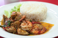 Thai spicy food prawns fried with chilies. Stock Photos
