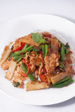 Thai spicy food, stir fried chicken whit basil and rice. Stock Photos