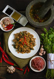 Thai spicy  food : stir-fried meat with chilli and basil. Pad Ka prao This's name menu in thai language Royalty Free Stock Photos