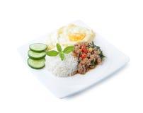 Thai spicy food, stir fried pork whit basil Stock Photography