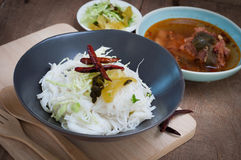 Thai spicy food with Vermicelli Stock Photo