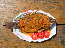 Thai spicy fried fish. royalty free stock photography