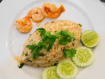 Thai spicy fried rice with shrimp Royalty Free Stock Image