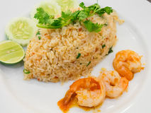 Thai spicy fried rice with shrimp Stock Photo